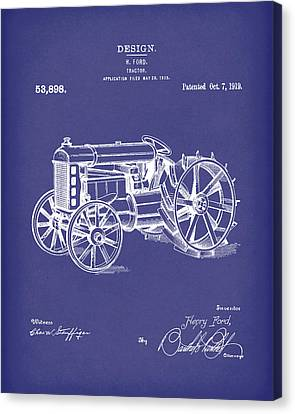 Ford Tractor 1919 Patent Art Blue Canvas Print by Prior Art Design
