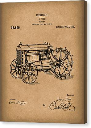 Ford Tractor 1919 Patent Art Brown Canvas Print by Prior Art Design