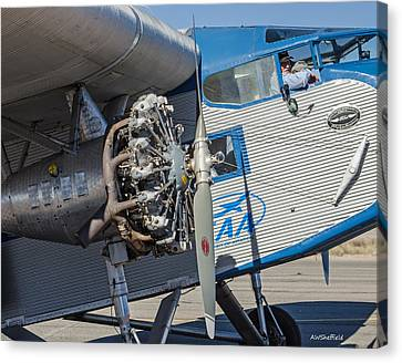 Ford Tri-motor - Business End Canvas Print by Allen Sheffield
