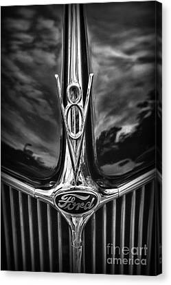 Ford V8 In Black And White Canvas Print by Paul Ward