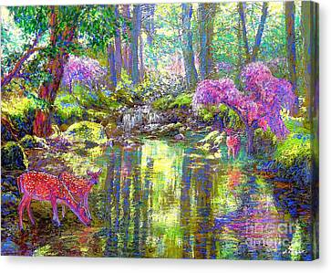 Deer, Forest Of Light Canvas Print by Jane Small