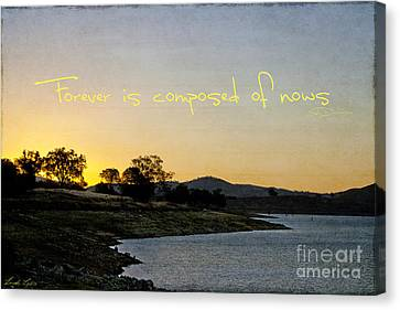 Forever Is Composed Of Nows Canvas Print by Linda Lees