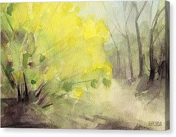 Forsythia In Central Park Watercolor Landscape Painting Canvas Print by Beverly Brown