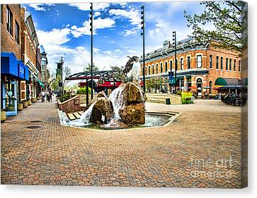 Fort Collins Fountain Canvas Print by Keith Ducker