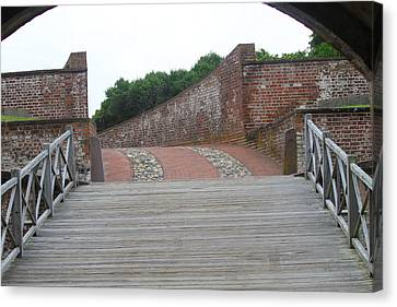 Fort Macon Drawbridge Canvas Print by Cathy Lindsey