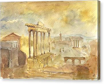 Forum Romano Canvas Print by Juan  Bosco