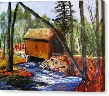 Foster Covered Bridge  Canvas Print by Art  Stenberg