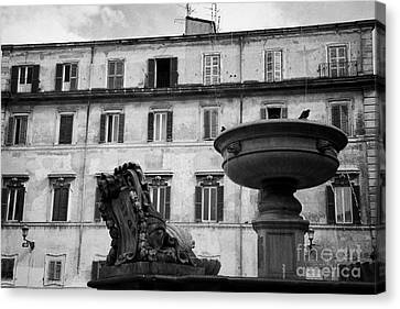 fountain and buildings in square in trastavere Rome Lazio Italy Canvas Print by Joe Fox