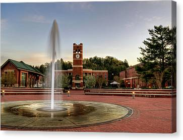 Fountain And Tower Canvas Print by Greg Mimbs