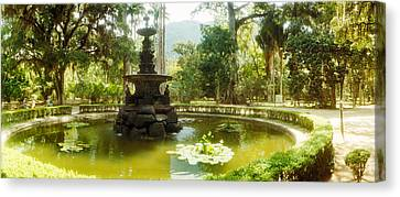 Fountain In A Botanical Garden, Jardim Canvas Print by Panoramic Images