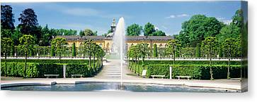 Fountain In A Garden, Potsdam, Germany Canvas Print by Panoramic Images
