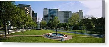 Fountain In A Park, Austin, Texas, Usa Canvas Print by Panoramic Images
