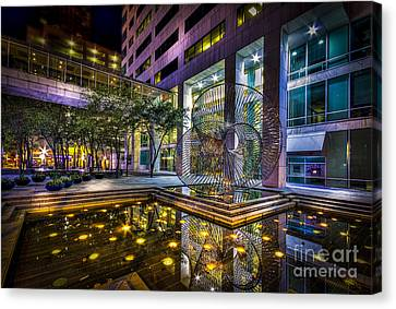 Fountain Reflection Canvas Print by Marvin Spates