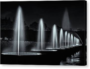 Fountains And Lights Canvas Print by Eduard Moldoveanu