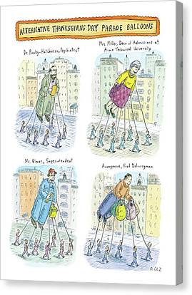 Four Balloons Of Various Unknown People Canvas Print by Roz Chast