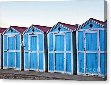 Four Blue Cabanas - Mondello Beach - Sicily Canvas Print by Madeline Ellis