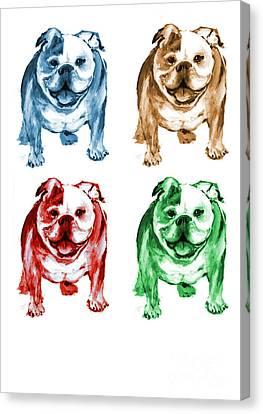 Four Bulldogs Canvas Print by Barbara Marcus