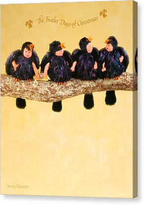 Four Calling Birds Canvas Print by Anne Geddes
