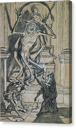 Four Grave Robbers Awaken A Ghost Canvas Print by Joseph Werner