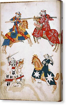 Four Knights Jousting Canvas Print by British Library