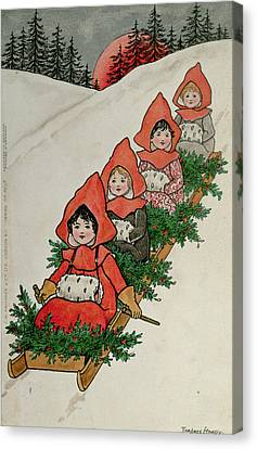 Four Little Girls On A Sledge  Canvas Print by Florence Hardy