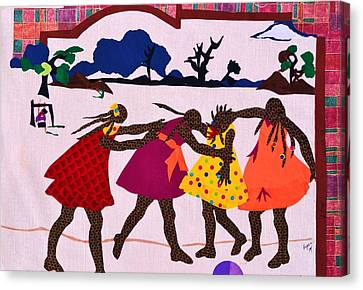Four Little Girls Canvas Print by Ruth Yvonne Ash