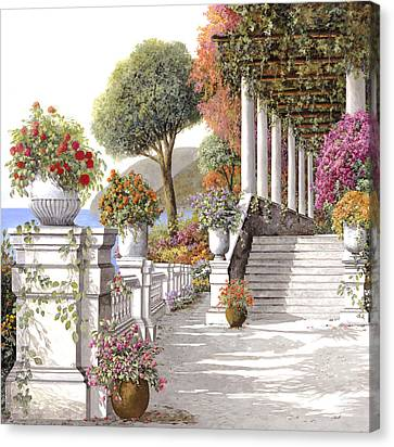 four seasons-summer on lake Como Canvas Print by Guido Borelli