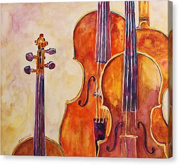 Four Violins Canvas Print by Jenny Armitage