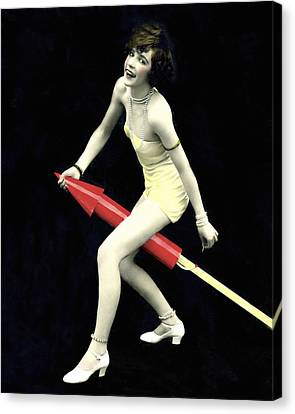 Fourth Of July Rocket Girl Canvas Print by Underwood Archives