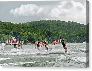 Fourth Of July Water Skiers Canvas Print by Susan Leggett