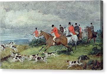 Fox Hunting In Surrey Canvas Print by Randolph