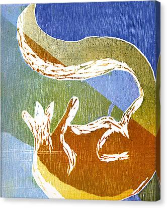 Fox Roll Canvas Print by Rebecca Bourke