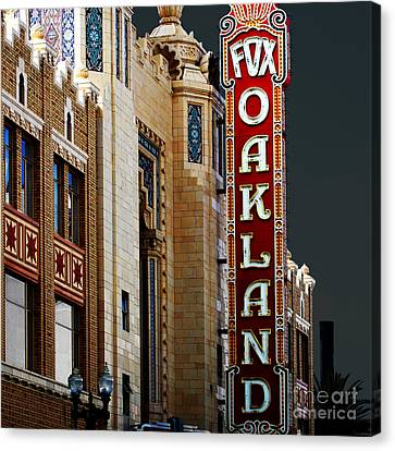 Fox Theater In Oakland California Square Canvas Print by Wingsdomain Art and Photography