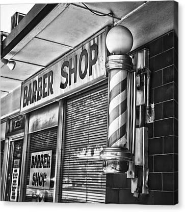 Fox's Barber Shop Black And White Canvas Print by David Waldo