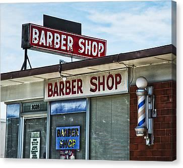 Fox's Barber Shop Neon Canvas Print by David Waldo