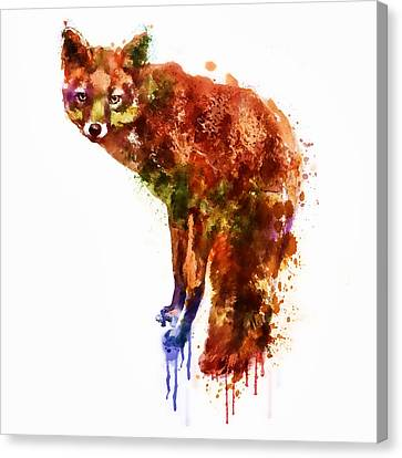 Foxy Lady Watercolor Canvas Print by Marian Voicu