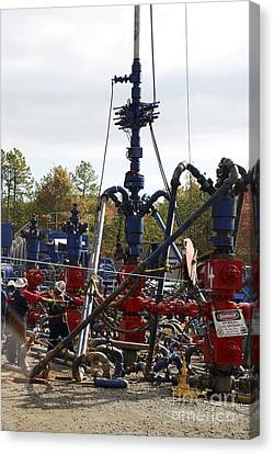 Fracking Well Heads Canvas Print by Bill Cunningham/us Geological Survey