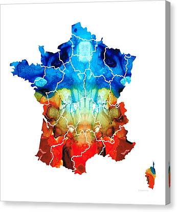 France - European Map By Sharon Cummings Canvas Print by Sharon Cummings
