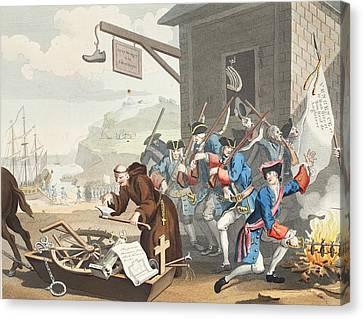 France, Illustration From Hogarth Canvas Print by William Hogarth