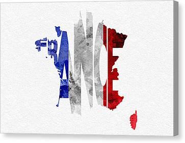 France Typographic Map Flag Canvas Print by Ayse Deniz