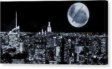 Frank Sinatra New York City Moon Canvas Print by Dan Sproul