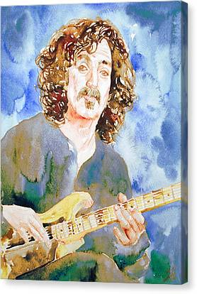 Frank Zappa Playing The Guitar Watercolor Portrait Canvas Print by Fabrizio Cassetta