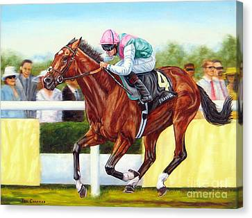 Frankel Winning At Royal Ascot Canvas Print by Tom Chapman