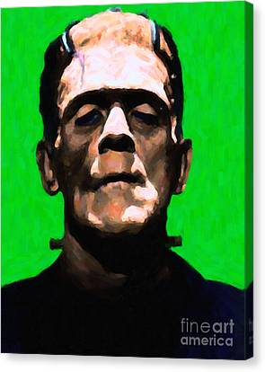 Frankenstein - Painterly - Green Canvas Print by Wingsdomain Art and Photography