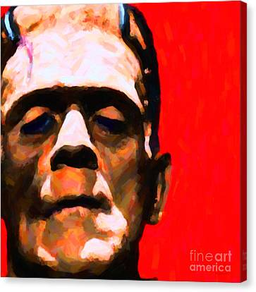 Frankenstein Painterly Red Square Canvas Print by Wingsdomain Art and Photography