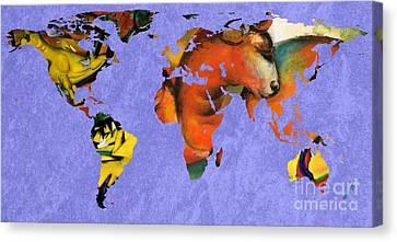 Franz Marc 1 World Map Canvas Print by John Clark