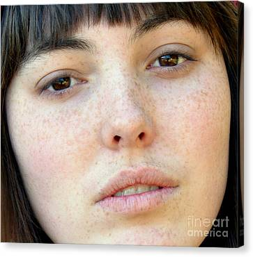 Freckle Faced Beauty Model Closeup Canvas Print by Jim Fitzpatrick