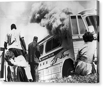 Freedom Riders Bus Burned Canvas Print by Underwood Archives