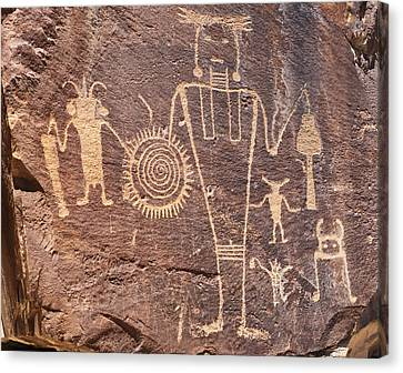 Freemont Culture Petroglyphs Canvas Print by Melany Sarafis