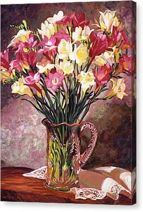 Freesias In Crystal Pitcher Canvas Print by David Lloyd Glover